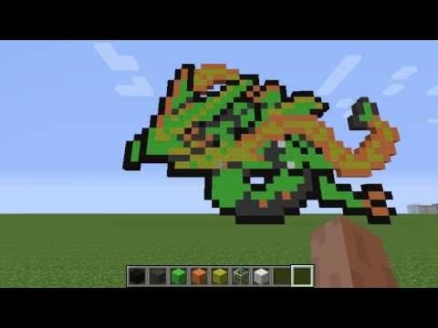 Minecraft Pokemon Pixel Art Mega Rayquaza Youtube
