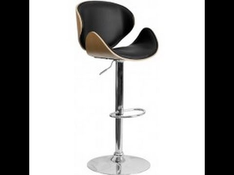 Adjustable Height Bar Stool With Curved Black Vinyl Seat And Back