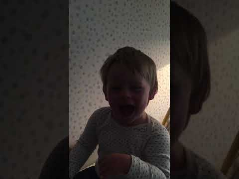 Cute laughing baby Toby