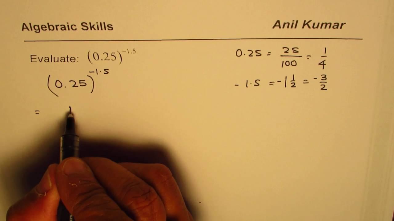 Evaluate Decimal Exponent of Decimal Number