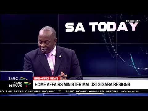 BREAKING NEWS: Malusi Gigaba resigns as Home Affairs Minister