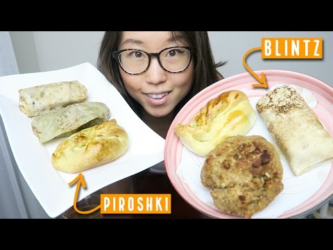 Slavic Food MUKBANG ● Trying Piroshki, Chicken Cutlet, Blintz