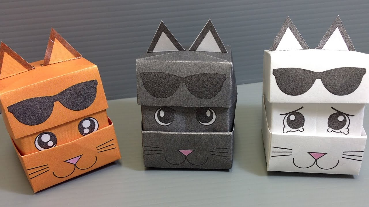 Origami Changing Faces Cat Cube
