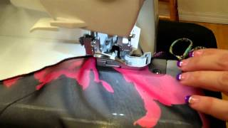 Finishing a serged seam with Missy