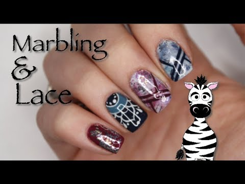 Marbling, Lace and Foil Gel Nail Art Tutorial | Madam Glam thumbnail