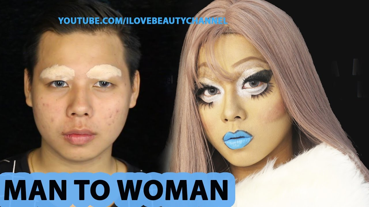 Man to woman drag queen makeup tutorial youtube baditri Images