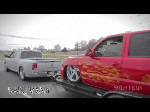 Bagged Dodge Megacab Dually Towing at 85 MPH!