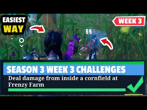 Deal Damage From Inside A Cornfield At Frenzy Farm - Fortnite WEEK 3 Challenges - Season 3 Guide