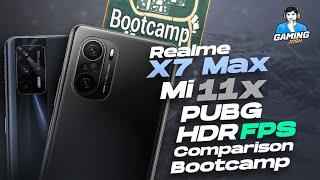Realme X7 Max vs Xiaomi Mi 11x HDR Extreme FPS Comparison   Sanhok Bootcamp Test