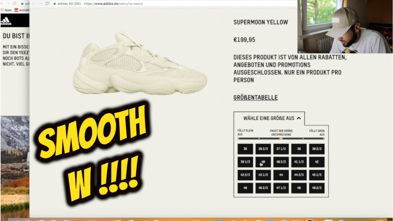"342f6c42ec668 LIVE COP  ADIDAS YEEZY 500 ""SUPER MOON YELLOW"" IN 2 MINUTES - YouTube"