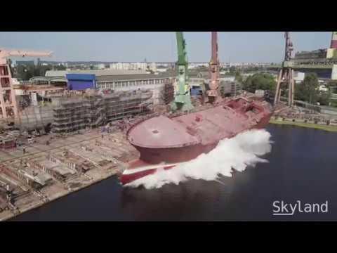 Launching a new ship in Remontowa Shipyard, Poland