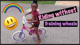 Amiyah's riding without training wheels
