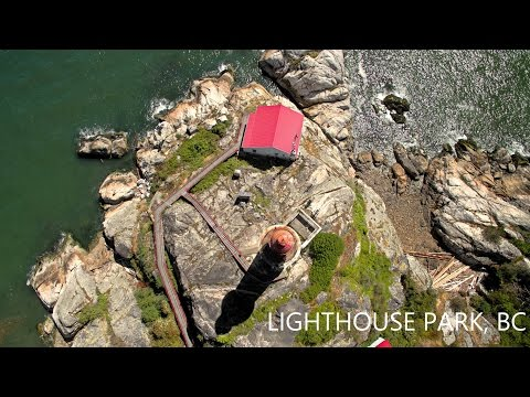 Lighthouse park aerial video, West Vancouver - British Columbia - Canada - 4K