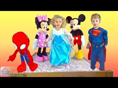 5 Little Monkeys Jumping on a Bed  Elsa Superman Minnie Mouse Mickey Mouse Spiderman  CC and Wally