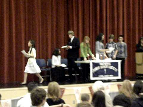 Sam Wensley being inducted into the National Honor Society at Curtis Junior High School.