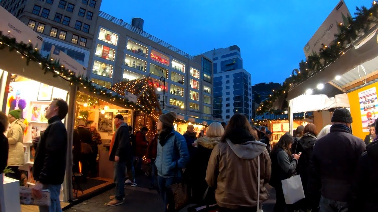⁴ᴷ⁶⁰ Walking Tour of the 2018 Union Square Holiday Market, NYC