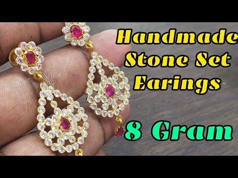 Gold Stone Earing    Handmade Jewellery Making   கல்கம்மல் தொங்கட்டம்