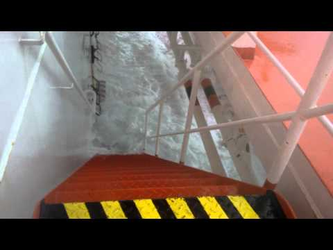 Strong storm and a big list causing floods on a Tanker Vessel ( MT Wolgastern )