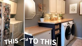 Laundry Room Makeover W/ Wood Countertops!