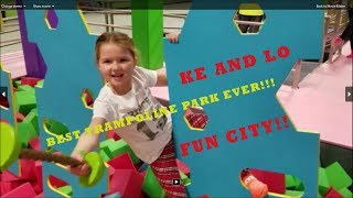 EPIC TRAMPOLINE PARK!!! FUN CITY Goffstown NH with Ke and Lo