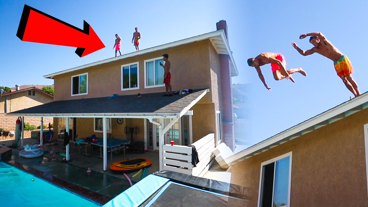 THEY DID TRIPLE FRONT FLIP OFF OUR ROOF! (Dom Hughes & Erik3run)