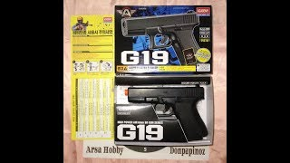 Airsoft gun spring handgun pistol mainan AGF/Academy Glock 19/G19