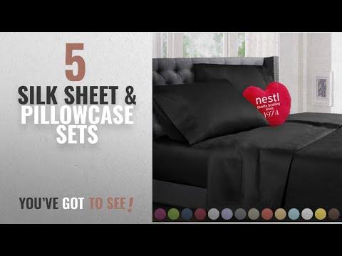 Top 10 Silk Sheet & Pillowcase Sets [2018]: Queen Size Bed Sheets Set Black, Highest Quality Bedding
