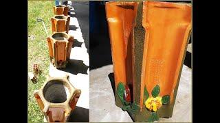 Vasos de Telha com Detalhes Florais