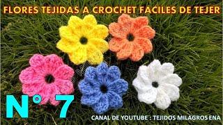 Flores tejidas a crochet fáciles de tejer para aplicar en cualquier prenda como adorno