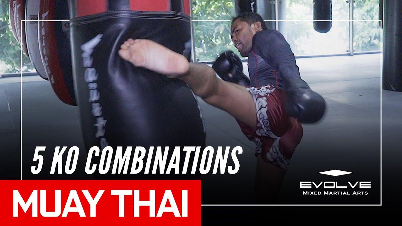 Muay Thai KNOCKOUT!   5 MIGHTY Combinations by Dejdamrong Sor Amnuaysirichoke   Evolve University