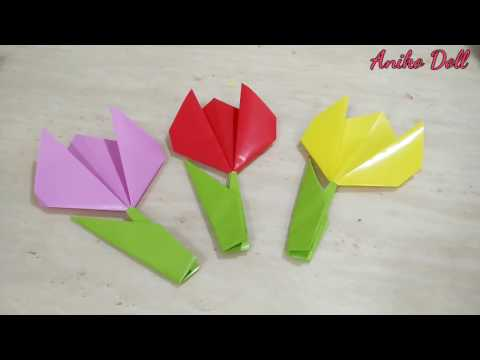 DIY Easy Paper tulips  for Mothers Day, Birthday Gift, Wedding Flowers or Valentines Day