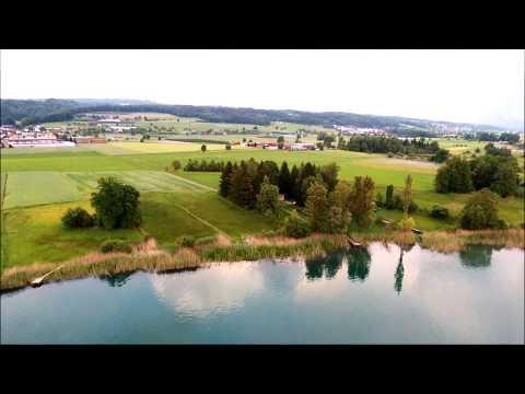 Flug über Hallwilersee, Seebucht Mosen, Schweiz