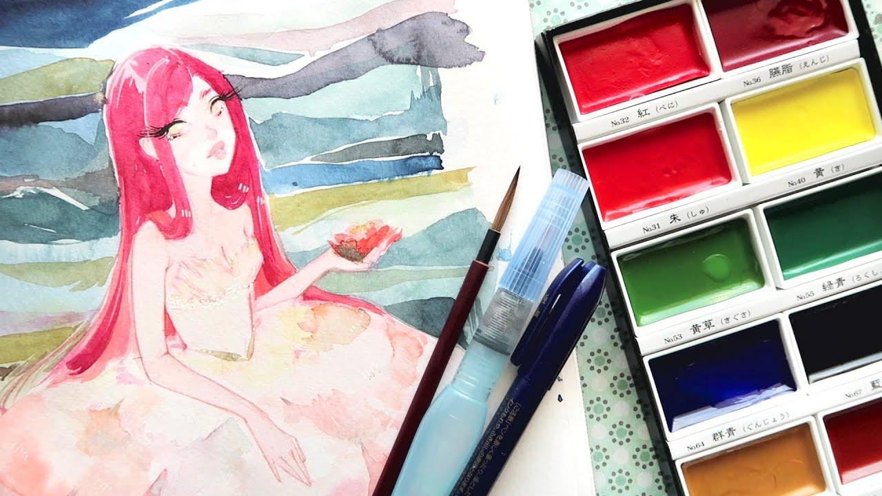 Watercolor art history brush - Jetpens Art Supply Goodies Kuretake Gansai Tambi Watercolor Youtube
