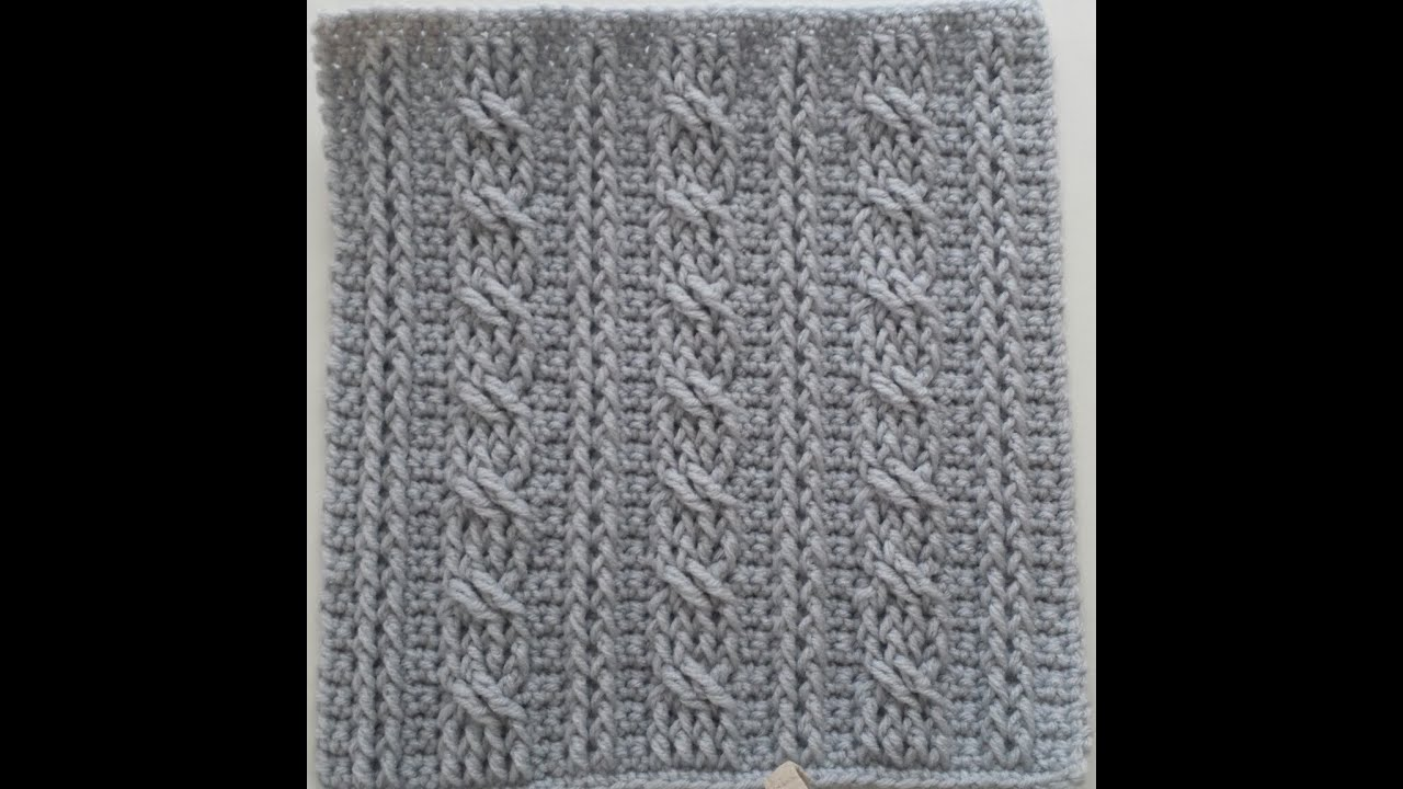 Crochet Cable Stitch Instructions : Crochet Cables Square 1: Bars & Twists part 1; rows 1-4 ...