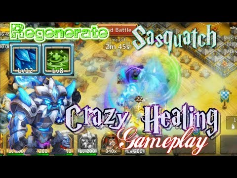 Regenerate Sasquatch INSANE POWER HEAL Gameplay - Castle Clash