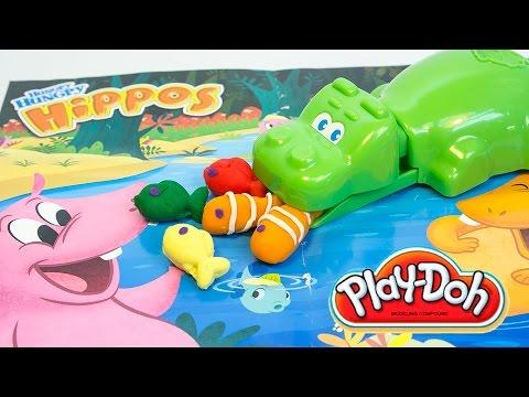 Play Doh Hungry Hungry Hippos Eats Playdoh Fish Hasbro Toys Review Hipopótamo Juguete Plastilina