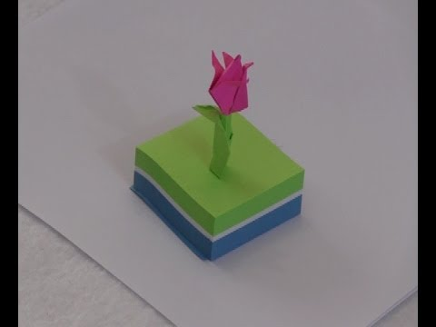 Flower origami with post it paper youtube flower origami with post it paper mightylinksfo