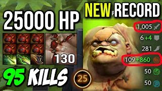 PUDGE 95KILLS 25000 HP NEW WORLD RECORD - 6xHeart of Tarrasque 1Vs5 MONSTER CARRY DOTA 2