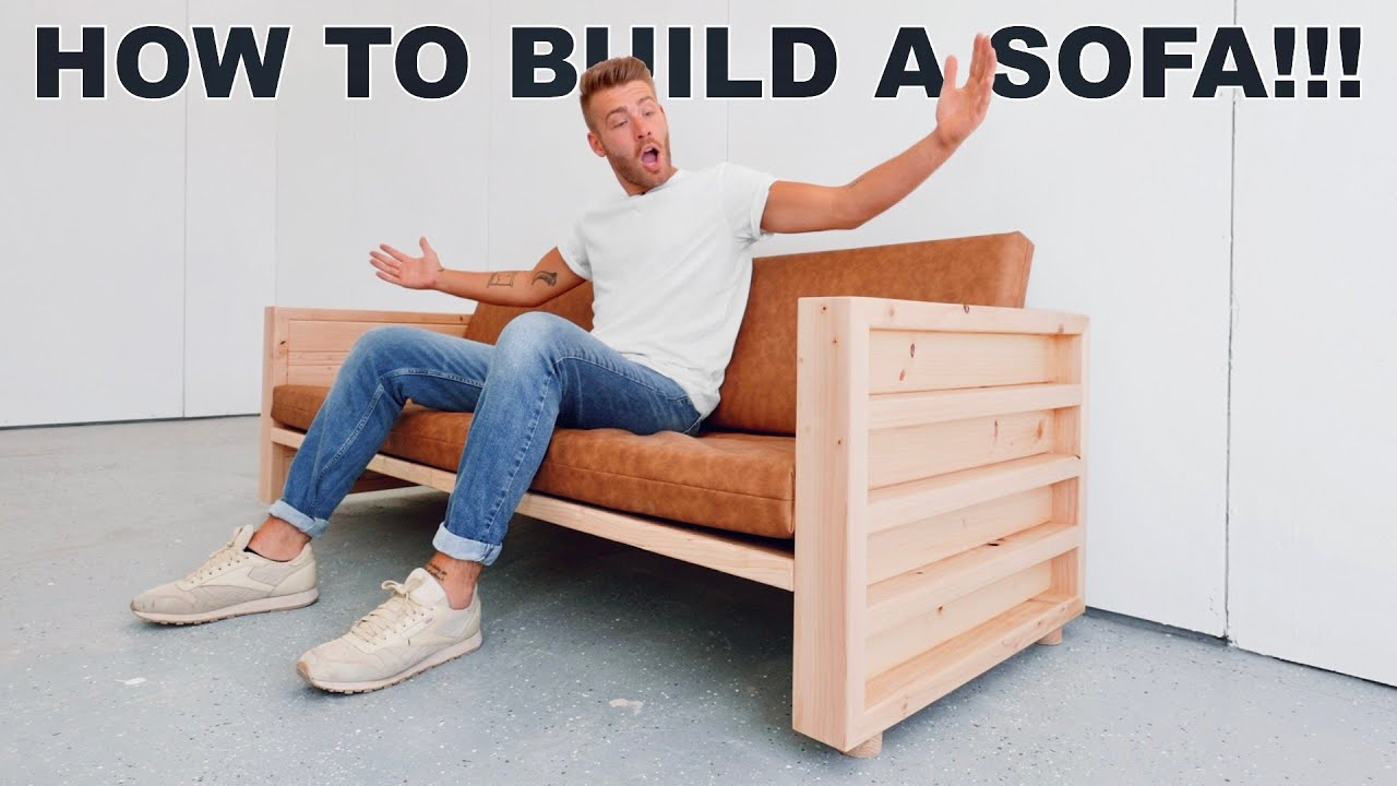 DIY SOFA MADE OUT OF 2X4'S + FREE PLANS | MODERN BUILDS
