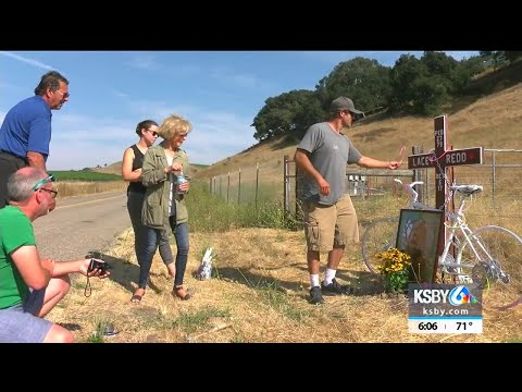 Ghost bike placed along Corbett Canyon Rd. in memory of cyclist