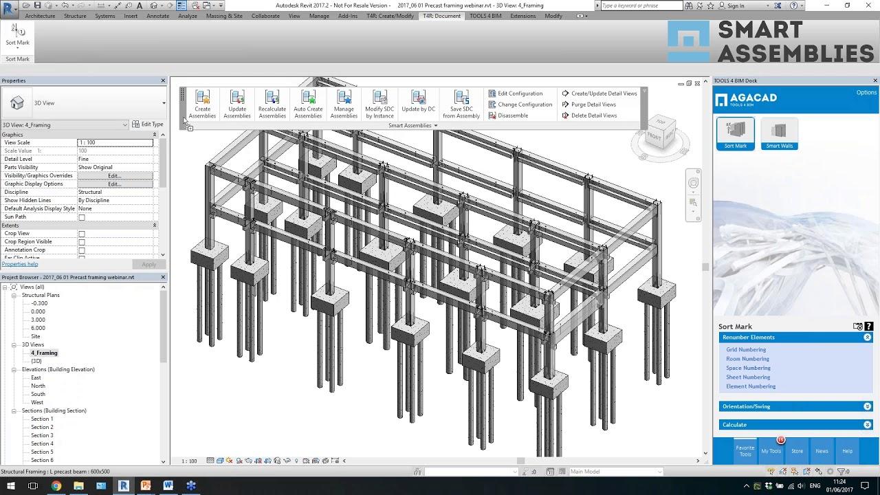 Modeling Precast Concrete Columns & Beams in Revit (Sneakpeek)