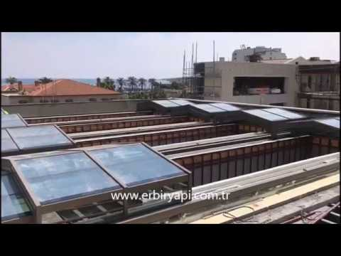 ERBİR YAPI, SHOPPING CENTER MALL RETRACTABLE GLASS ROOF, MOTORIZED  RETRACTABLE SKYLIGHT