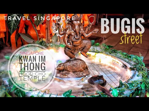 Bugis Street Singapore + KWAN IM THONG HOOD CHO temple #singapore #travel
