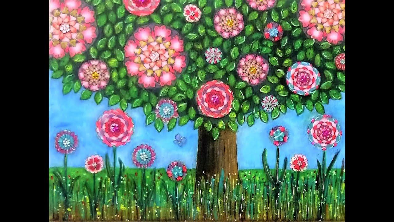 ❤ Mixed Media Painting - Whimsical Tree – for #CACFlowerArt - YouTube