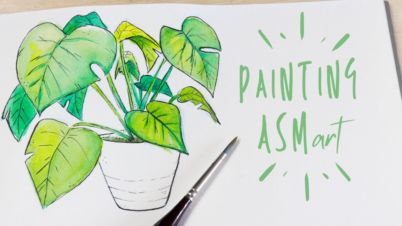 Painting An Indoor Plant With Watercolors | Whispered ASMR #4