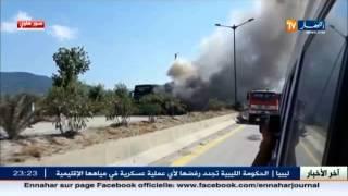 احتراق حافلة بأكملها لنقل المسافرين تعمل على محور تيزي وزو العاصمة