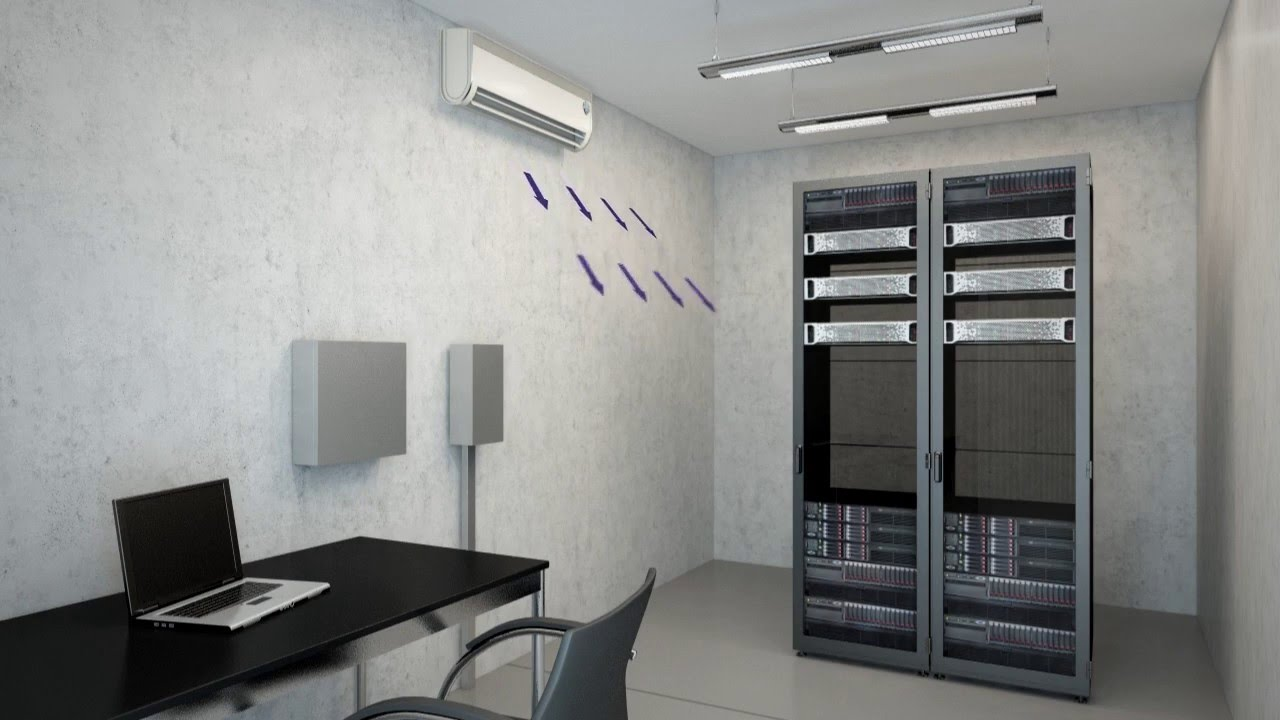 Wall Mounted Air Conditioner In A Server Room Animation