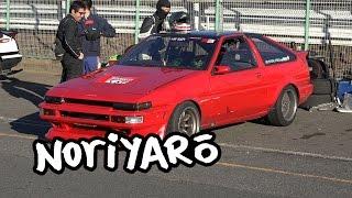 "World's maddest AE86 drifter ""Kaicho"" Takahashi drift and crash at Tsukuba Circuit"