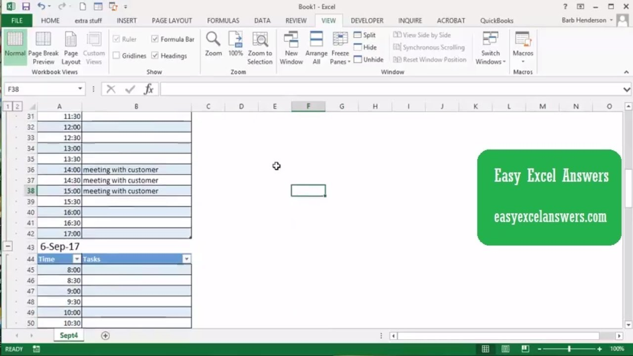 create a daily task planner with excel youtube