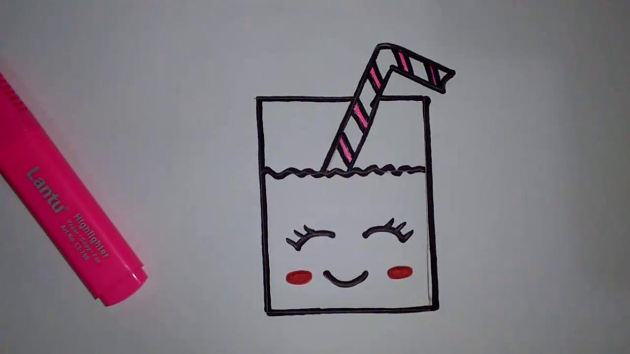 رسومات بسيطة وجميلة تعليم الرسم للاطفال تعلم رسم كوب عصير برتقال كيوت